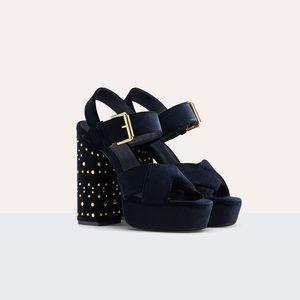 NWT Maje Falby Studded Suede High-Heeled Sandals